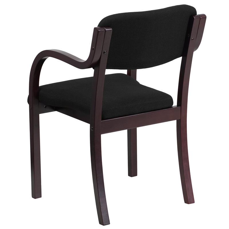 Contemporary-Mahogany-Wood-Side-Reception-Chair-with-Arms-and-Black-Fabric-Seat thumbnail 4