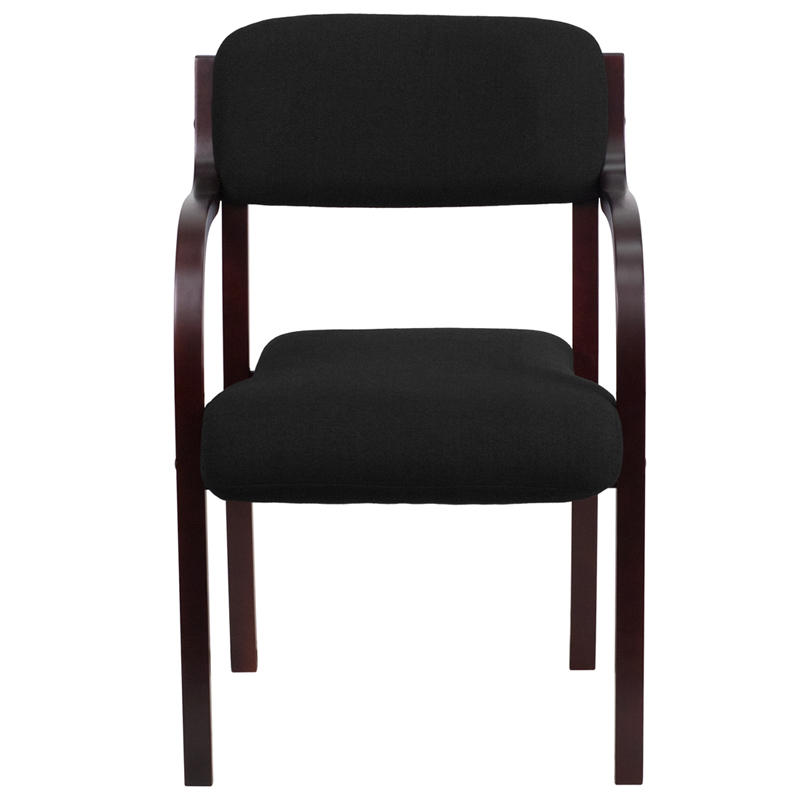 Contemporary-Mahogany-Wood-Side-Reception-Chair-with-Arms-and-Black-Fabric-Seat thumbnail 5